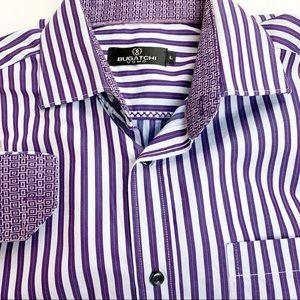 Bugatchi Uomo flip cuff striped dress shirt